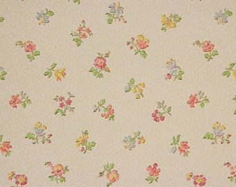 1920s Vintage Wallpaper Petite Flowers on White by the Yard--Made in Belgium
