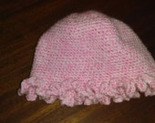 Variegated pink and white crocheted toddler hat