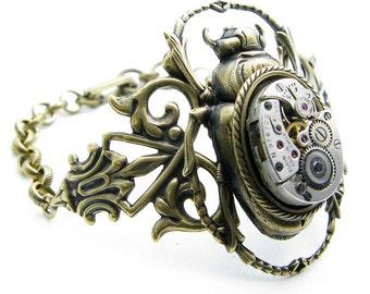 Steampunk Brass Scarab Bracelet