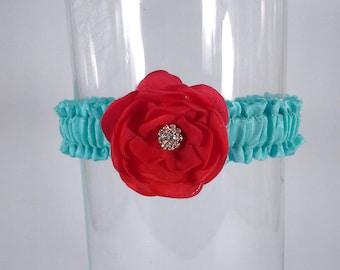 Wedding Garter Tiffany Blue, Red Rose,  bridal garter H212, bridal garter accessory, garter