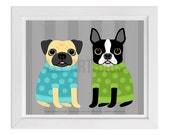 98D - Dog Prints - Tan Pug and Boston Terrier in Sweaters Wall Art - Funny Dog Print - Pug Art - Pug Print - Boston Terrier Art - Dog Art