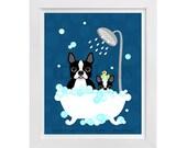 170D - Bathroom Art - Boston Terrier Dog and Puppy in Bubble Bath Wall Art - Cute Dog Print - Bathroom Wall Decor - Bath Print - Puppy Print