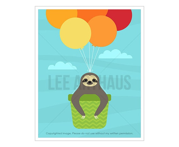 38J Animal Print - Sloth in Hot Air Balloon Wall Art - Hot Air Balloon Print - Funny Animal Drawing - Sloth Print - Nursery Wall Art