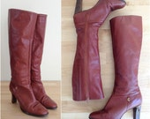 Vintage leather knee high boots / Brown leather tall boots / leather winter boots