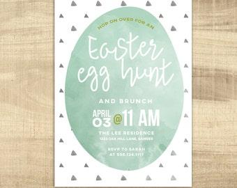 Easter Egg Hunt Invitation, Vintage Easter Brunch, modern Egg Hunt PRINTABLE Party Invitation, Spring Invitation, Easter Brunch Invitation
