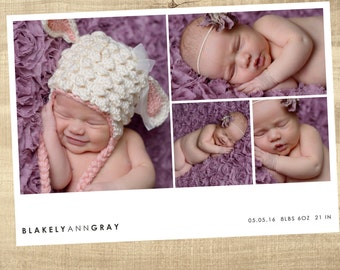 birth announcement, baby announcement  digital baby birth announcement, modern photo birth announcement
