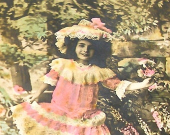 Antique French Postcard, Edwardian girl with lacy hat, RPPC real photo postcard, paper ephemera.