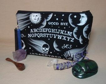 Ouija - Spirit Board Large Padded Cotton Cosmetic Bag Zipper Pouch Inside Pocket