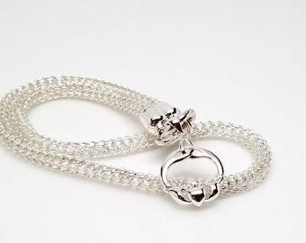 Discreet Slave Collar Irish Claddah Sterling Silver Trichinopoly Viking Knit Sterling Clasp