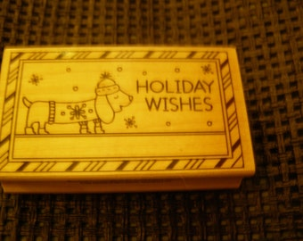 Holiday Wishes Daschund Inkadinkado wood mounted Rubber Stamp
