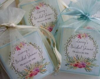 Bridal Shower Favor, Baby shower favor, soap favors, set of 10, aqua wreath favors
