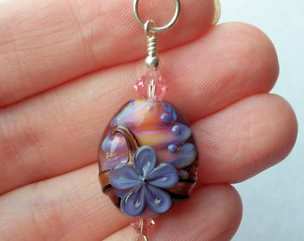 Pink Purple Floral Lampwork Glass Bead Focal Pendant by keiara SRA