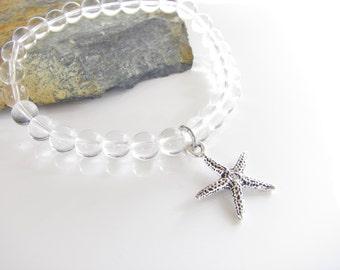 Quartz Gemstone Stretch Bracelet - Starfish Pewter Charm Bracelet - Stackable Gemstones - Ready to Ship - Beach Jewelry - Ocean Bracelet