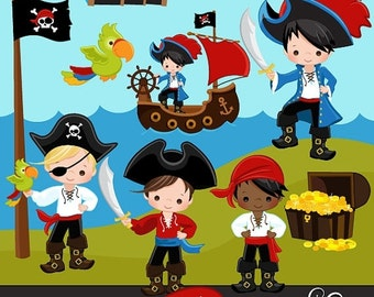 60% OFF SALE Pirates, Ships and Treasure Island Clipart – Boys Instant Download Pirate graphics