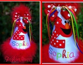 Elmo Birthday Party Hat, You choose cone colors, and Name,  Handmade, Embroidered and Appliqued,  by  GINGHAM BUNNY EMBROIDERY