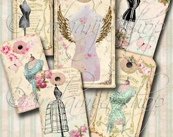 DRESS FORM TAGS Collage Digital Images -printable download file-