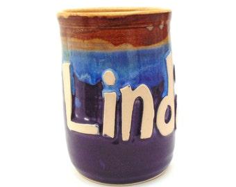 Custom Name Mug  3D Raised Lettering   Personalized Colors   Handmade Ceramic Mug/ Wheel Thrown Pottery
