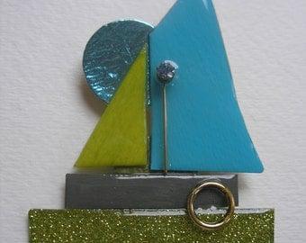 Signed Stephen Dalton Modernist Deco Sailboat Boat Pin Pendant Sculpture Vintage Stone