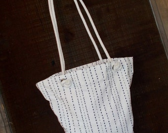 "Bag/Purse-16 x 13 inch-""Going Too"" Bag---Natural Canvas with Navy Stitched Stripes"