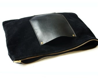 YWH Classics- Black Suede Zippered Clutch with Leather Pocket