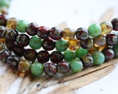MARBLE MIX 4mm .. 50 Picasso Czech Druk Glass Beads (5103-st)