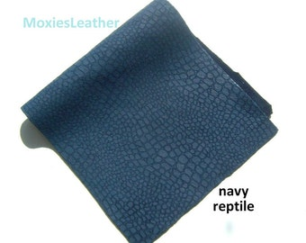 navy reptile print genuine leather - navy blue reptile print