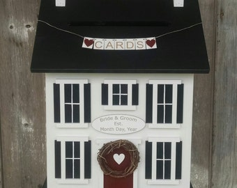 Wedding Card Box Personalized with Names and Date - Our Love Story  48 Hour Ship