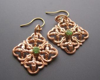Copper Quatrefoil Earrings, Green Rhinestone Fleur de Lys Jewelry, Unique Dangle Earrings