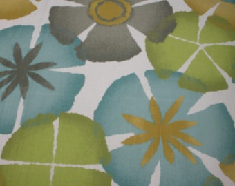 FREE SHIP Robert Allen By the yard Pure Petals Fabric Aqua, Gray, Green, Brown, Cream modern flowers fabric  -  BearlyArtDesigns Store