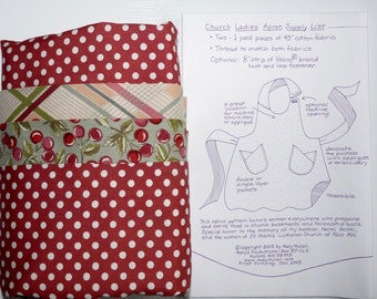 Apron Kit, Church Ladies' Apron Pattern and fabric