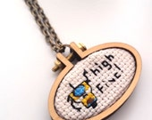Claptrap High Five  Cross stitch Necklace - xstitch fiber art wearable art Gamer Geek Chic Geekery