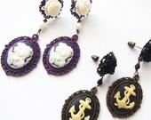 Dangle Earrings Purple Girls Cameos Dangle Stud Earrings Dark Mourning Pastel Goth Chic