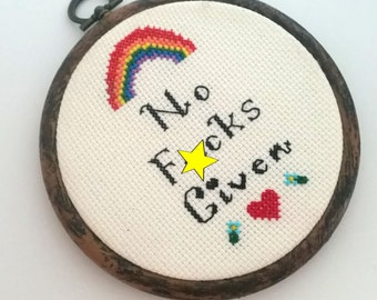 No F*cks Given Adult Cross Stitch 4 inch 11cm Hoop - Ready to Hang original design- Mature Mantra