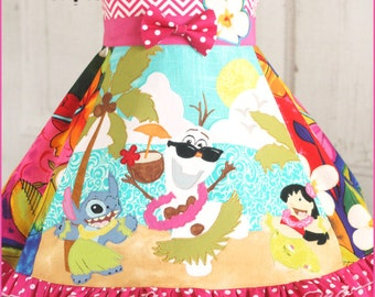 Girls Disney Summer Olaf Lilo Stitch Dress size 2 3 4 5 6 7 8 9 10