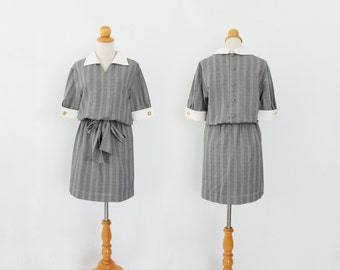 Miss Librarian- - grey check houngtooth drawstring peterpan collar preppy pencil mini bow dress S M