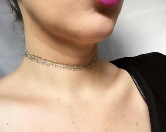 metallic gold lace choker necklace
