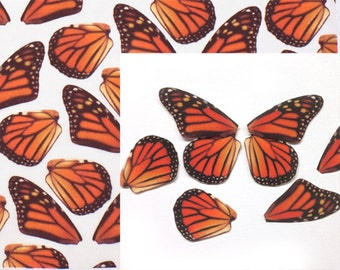 Monarch Butterfly Mini Wing Fabric in 100% Silk One Fat Quarter to Make Mini Butterflies Hair Accessories or Millinery