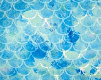 1/2 Yard Blue Green Mermaid Scale Swimsuit Fabric, Stretch Knit