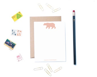 Flat Note Card Set Bear Silhouette Personalized Stationery Set Custom Stationery Personalized Note Cards Custom Stationery Custom Notecards