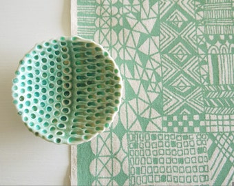 Tiled - screen printed fabric - chalky colours