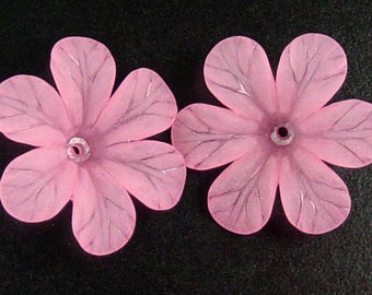 Acrylic Bead 8 Pink Star Daisy Flower 6-Petal Point Frosted 33mm (1022luc33m3-3)