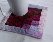 Quilted Coaster Mug Rug or Mini Quilt in Purples and Pinks