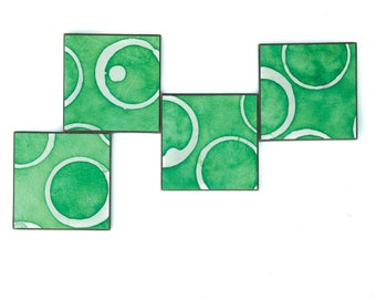 Green Coasters,  Batik Circles, White Dots, Handmade Paper, Set of 4, Wedding Gift, Hostess Gift, Furniture Protection