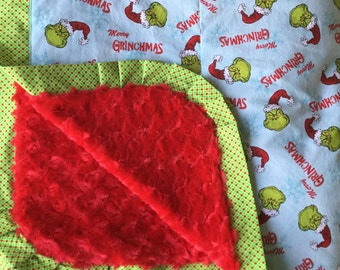 How the Grinch Christmas Blanket - Adult Wrap Around Minky Blanket