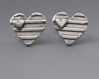 Self-Love- Heart Stud Post Wire Earrings