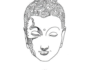 Buddha Illsutration Giclee Print 8x10