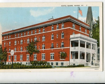 Vintage Vermont Linen Color Postcard Hotel Barre, Barre, VT, sovereign postcard, brick building