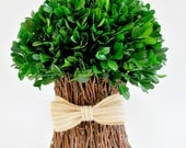 Boxwood Topiary - Wedding Table Decorations - Farmhouse Decor - Topiaries - French Country Decor - Rustic Weddings - Boxwood with Burlap Bow