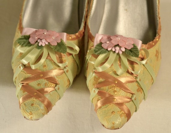 Special Size 8 - Marie Antoinette Green and Gold Fairy Shoes