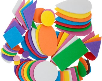 One Package (360 Pieces) Foamies Craft Shapes - Assorted Colors